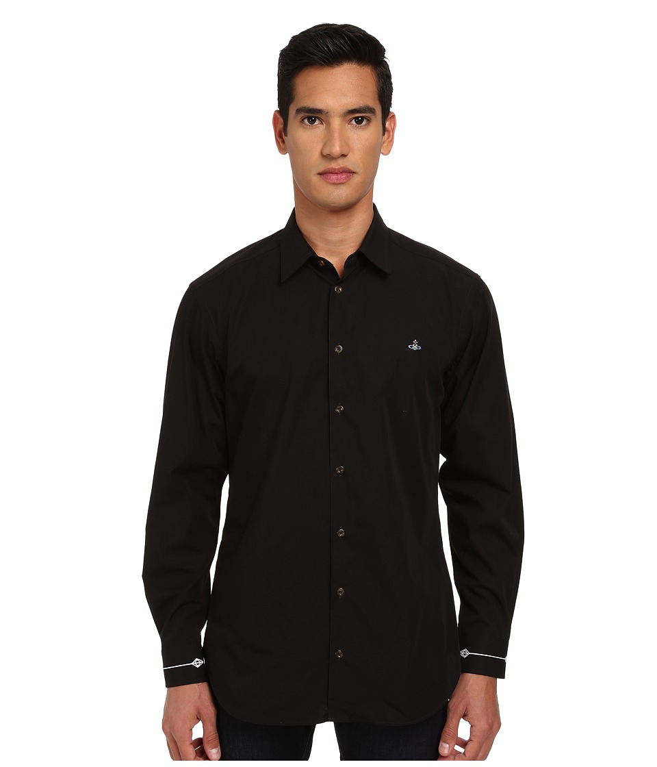 Vivienne Westwood MAN - Fresh Cut Collar Firm Poplin Button Up (Black) Men