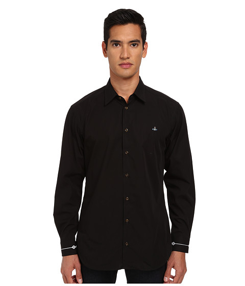 Vivienne Westwood MAN - Fresh Cut Collar Firm Poplin Button Up (Black) Men's Long Sleeve Button Up