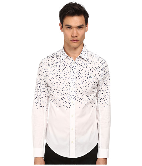 Vivienne Westwood MAN - Digital Pixels Printed Button Up (White/Navy) Men's Long Sleeve Button Up