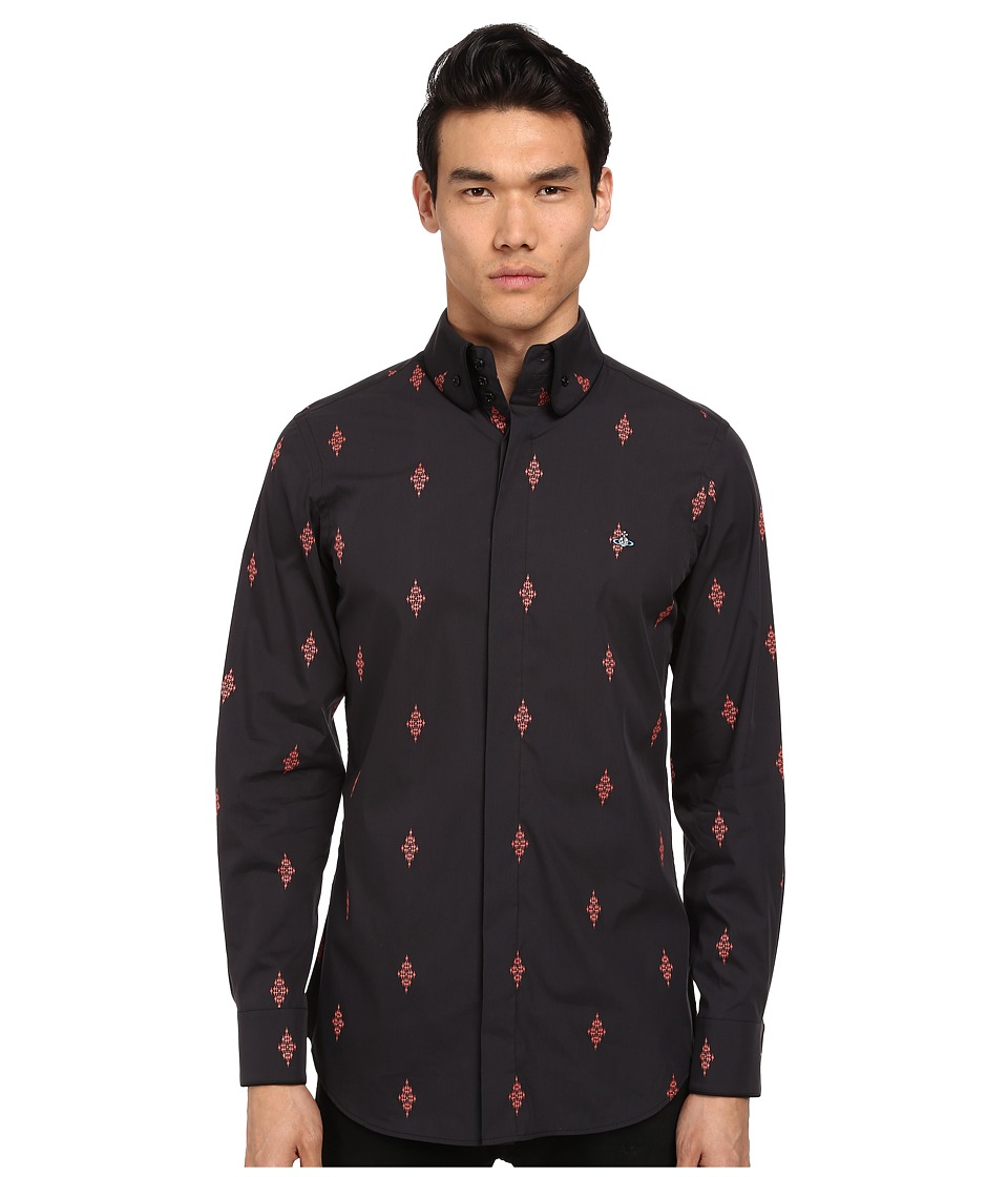 Vivienne Westwood - Firm Krall Collar Diamond Cross Button Up (Black/Red) Men's Long Sleeve Button Up