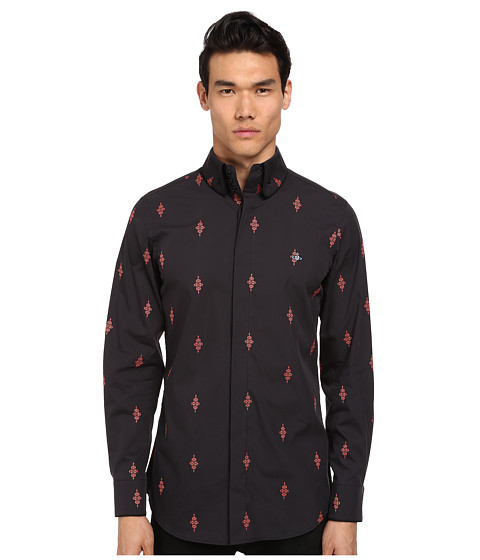 Vivienne Westwood MAN - Firm Krall Collar Diamond Cross Button Up (Black/Red) Men's Long Sleeve Button Up