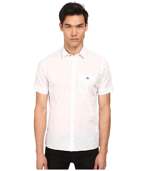 Vivienne Westwood MAN - Stretch Poplin Safari S/S Button Up (White) Men