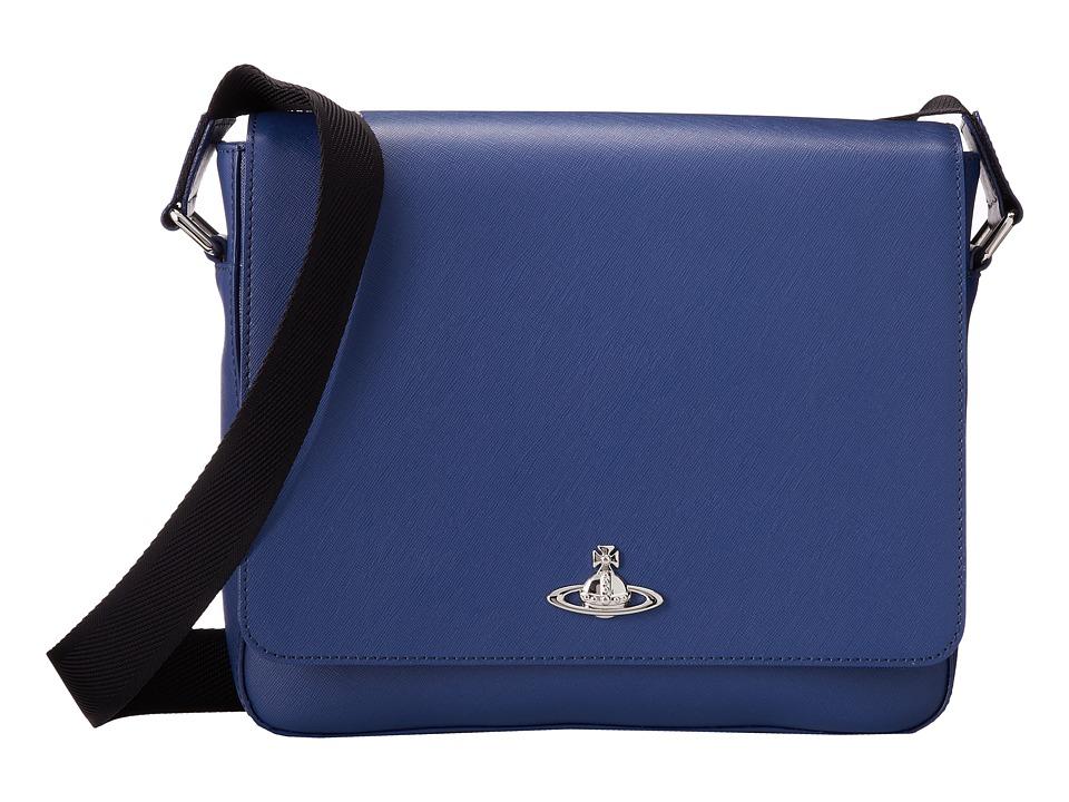 Vivienne Westwood - Saffiano Messenger Bag (Blue) Messenger Bags