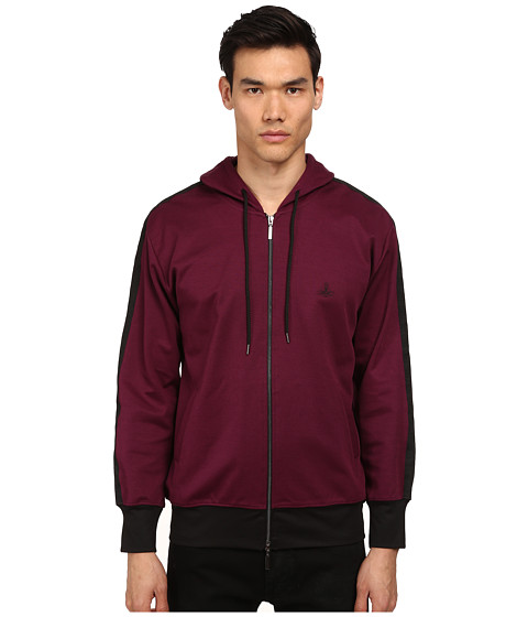 Vivienne Westwood MAN - Bondage Track Hooded Track Jacket (Bordeaux) Men's Clothing