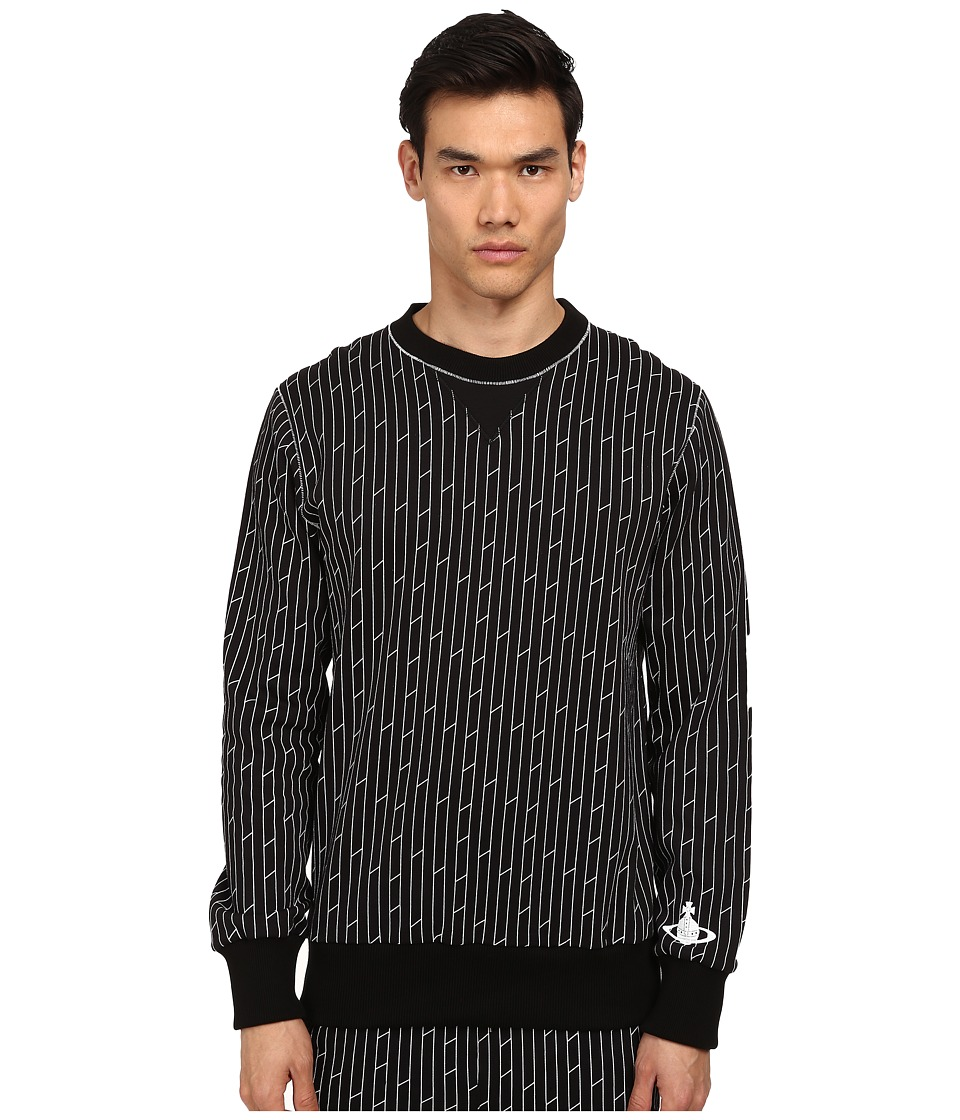 Vivienne Westwood MAN - Linear Print Frankenstein Crew Neck Sweatshirt (Black Multi) Men