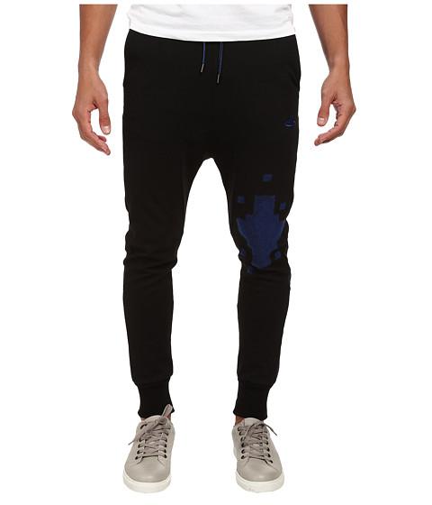 Vivienne Westwood MAN - Tech Cotton Cut Panel Legging (Black/Navy) Men's Casual Pants