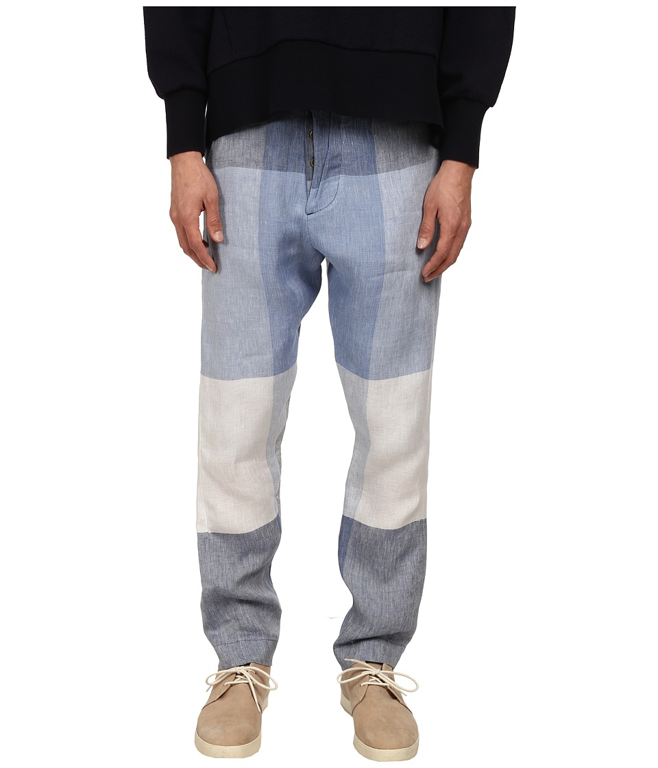 Vivienne Westwood - Oversize Check Linen Alcoholic Trouser (Navy/Grey) Men's Casual Pants