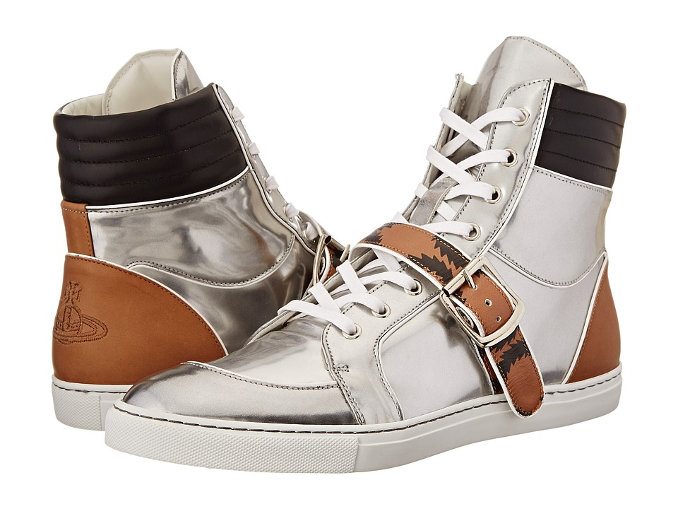 Vivienne Westwood - High Top Buckle Sneaker (Silver) Men's Lace up casual Shoes