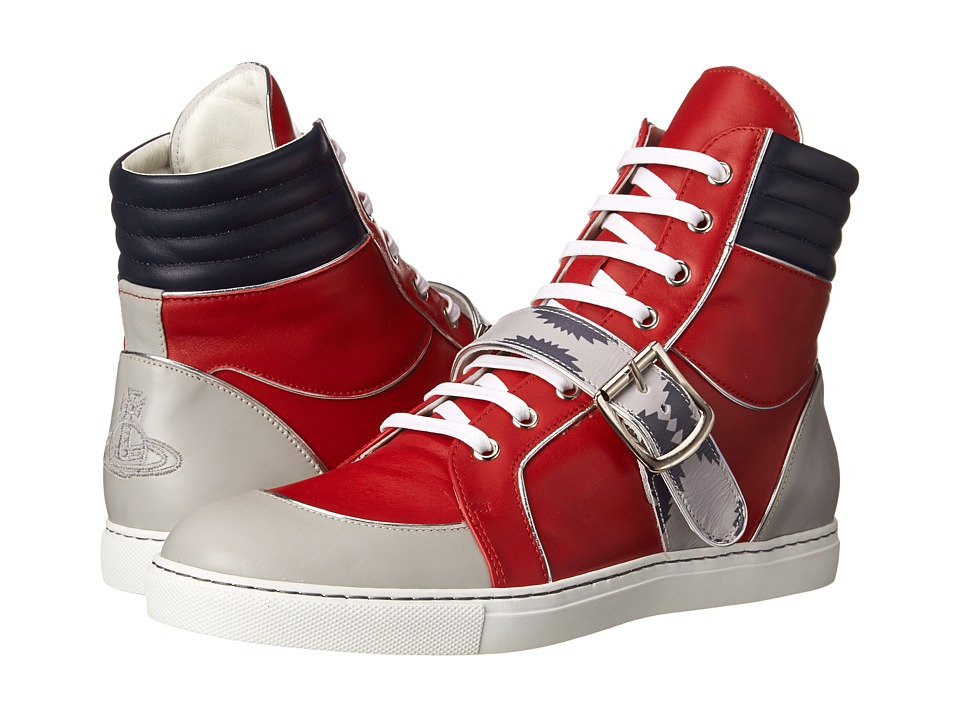 Vivienne Westwood - High Top Buckle Sneaker (Red) Men's Lace up casual Shoes