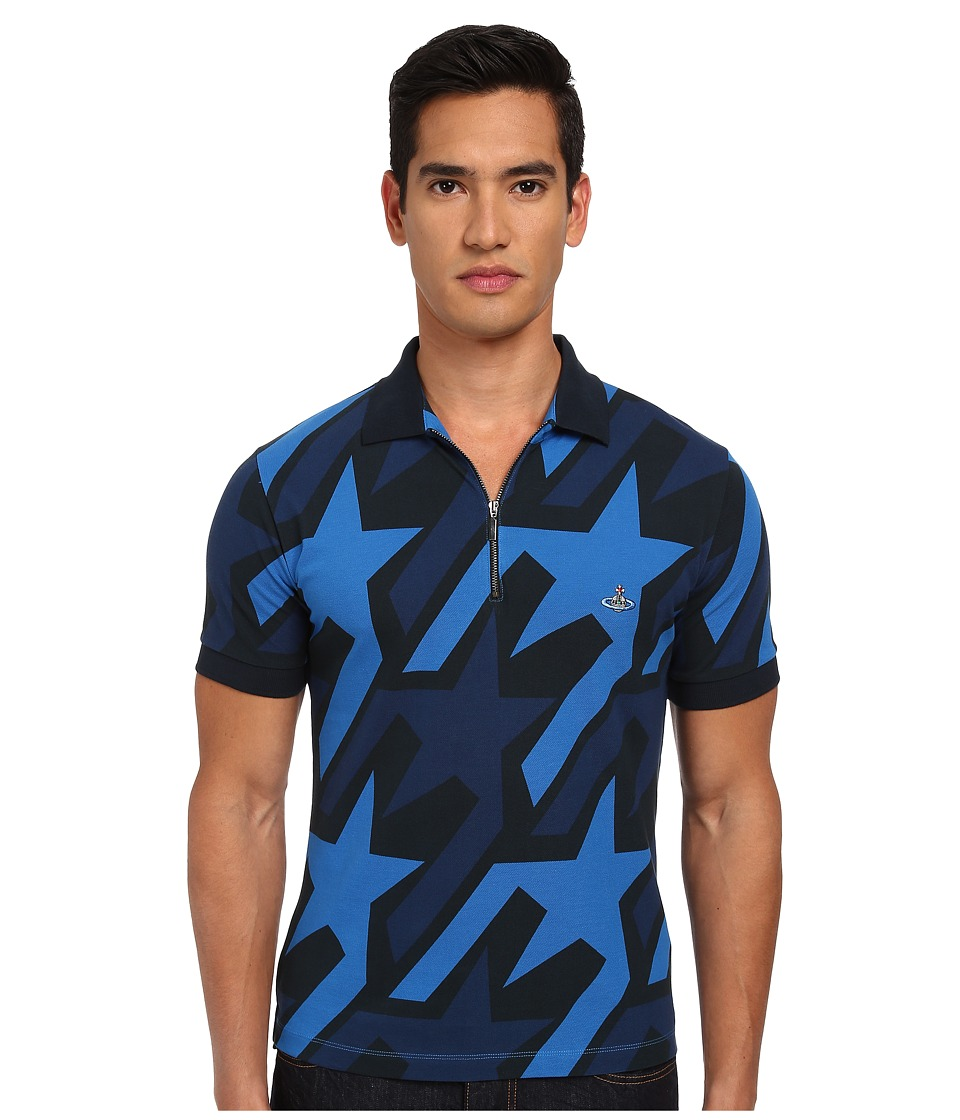 Vivienne Westwood MAN - Startooth Allover Print Zip Polo (Navy Multi) Men's Short Sleeve Pullover