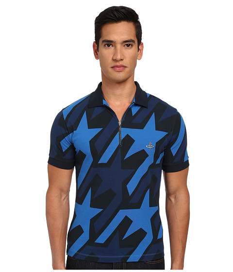 Vivienne Westwood MAN - Startooth Allover Print Zip Polo (Navy Multi) Men