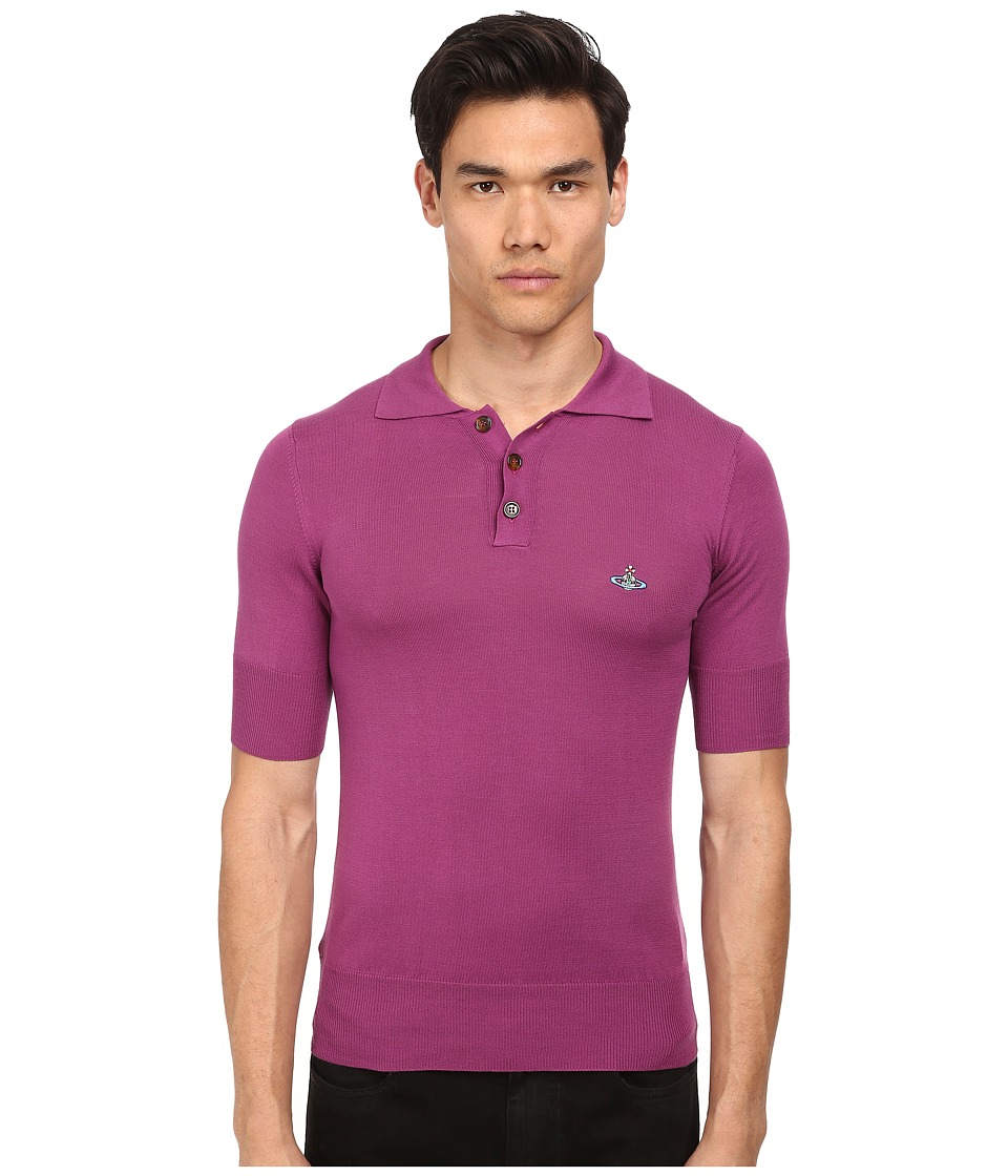 Vivienne Westwood MAN - Classic Knit Polo (Purple) Men's Short Sleeve Pullover