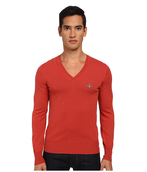 Vivienne Westwood MAN - Classic V-Neck Sweater (Coral) Men's Sweater