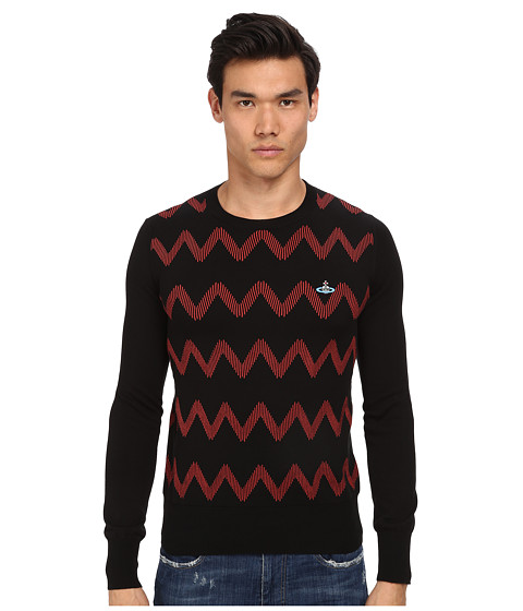 Vivienne Westwood MAN - Zig Zag Crew Neck Sweater (Black/Coral) Men's Sweater