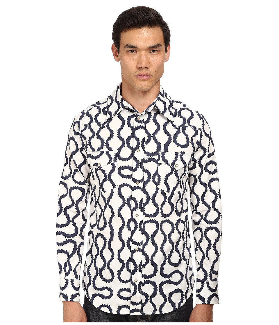 Vivienne Westwood - Anglomania Classic Ranch Shirt (Indigo Squiggle) Men's Long Sleeve Button Up