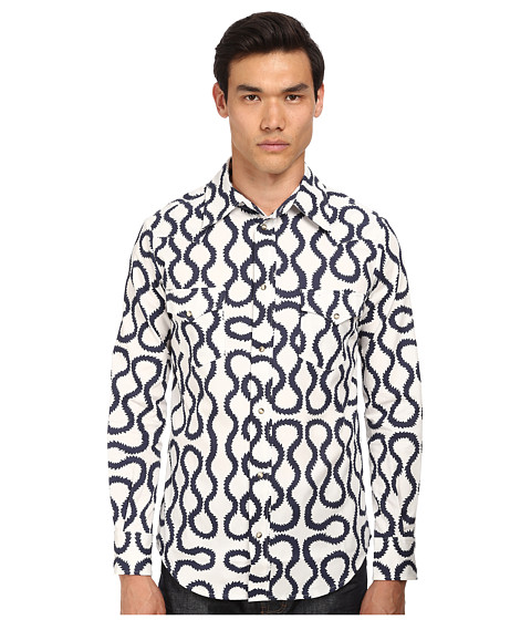 Vivienne Westwood MAN - Anglomania Classic Ranch Shirt (Indigo Squiggle) Men's Long Sleeve Button Up
