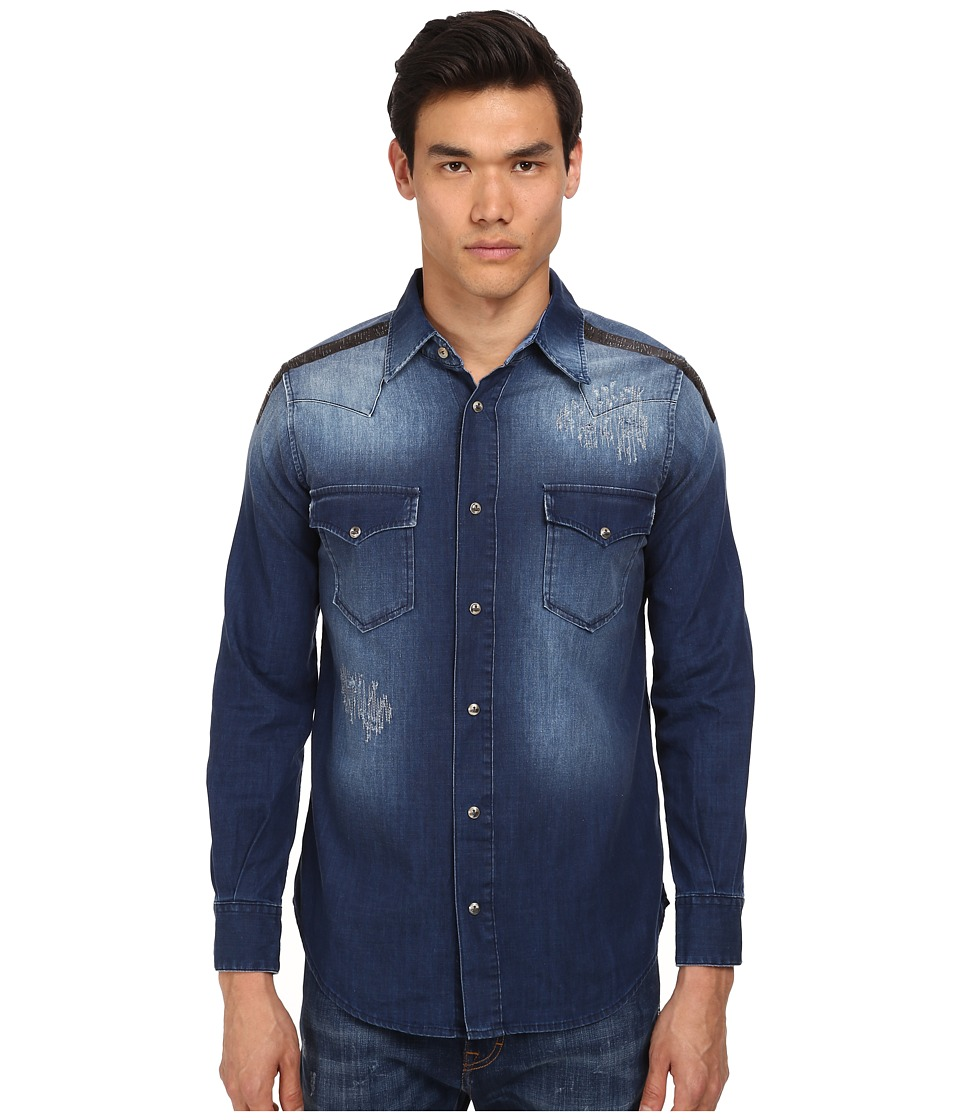 Vivienne Westwood - Anglomania Classic Ranch Shirt (Bruised Indigo) Men's Long Sleeve Button Up