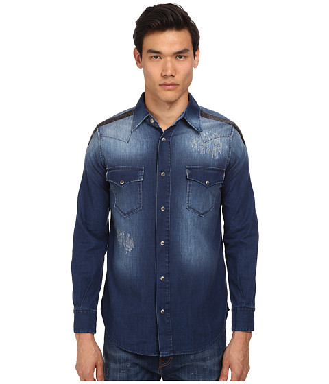 Vivienne Westwood MAN - Anglomania Classic Ranch Shirt (Bruised Indigo) Men's Long Sleeve Button Up
