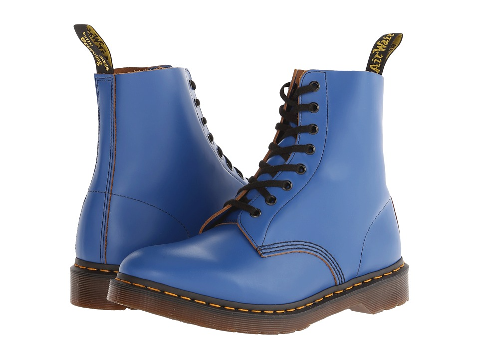 Dr. Martens - Pascal 8-Eye Boot (Blue Vintage Smooth) Lace-up Boots