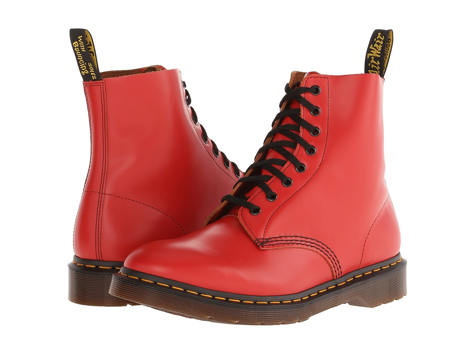 Dr. Martens - Pascal 8-Eye Boot (Red Vintage Smooth) Lace-up Boots