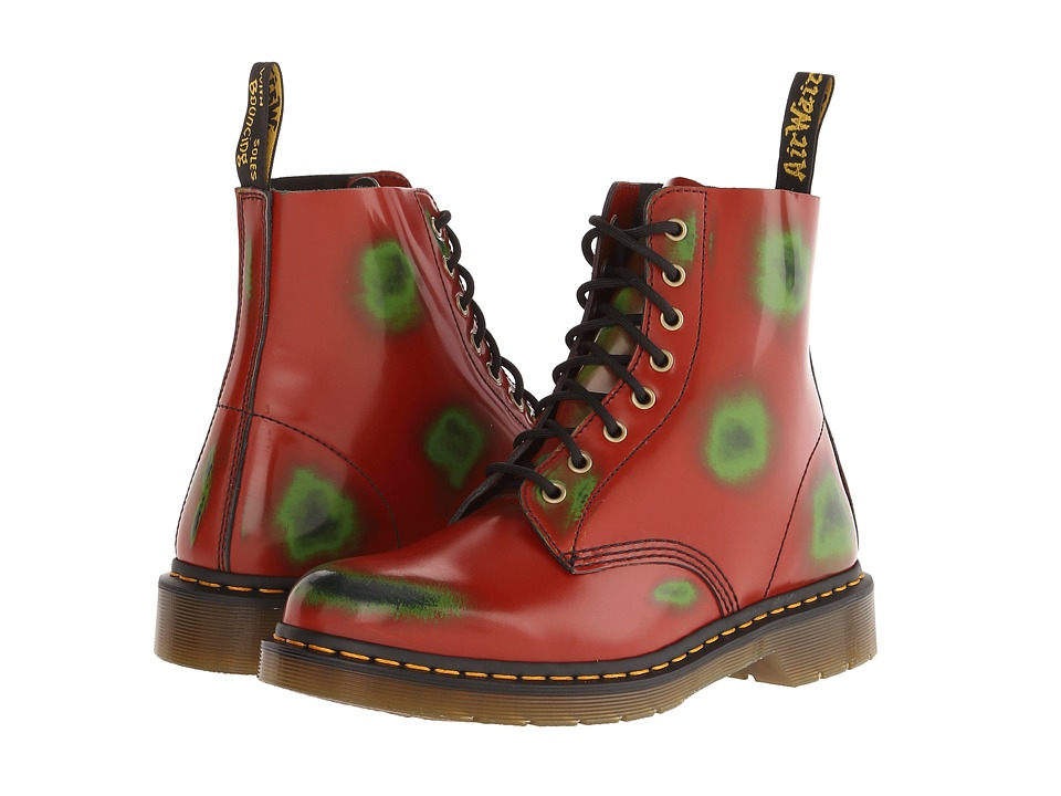Dr. Martens - Pascal 8-Eye Boot (Red/Green/Navy) Lace-up Boots