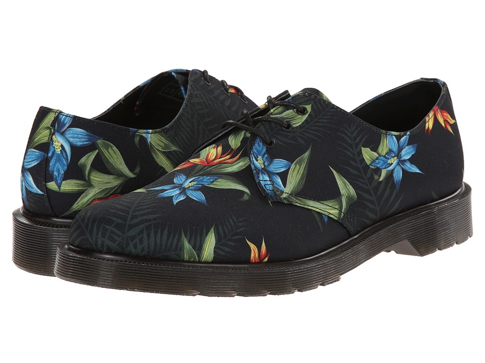 Dr. Martens - Lester 3-Eye Shoe (Black Hawaiian Floral T Canvas) Shoes