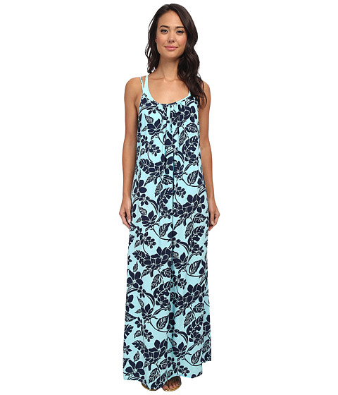 Tommy Bahama - Stem Floral Spaghetti Strap Long Beach Dress Cover-Up (Swimming Pool/Mare) Women