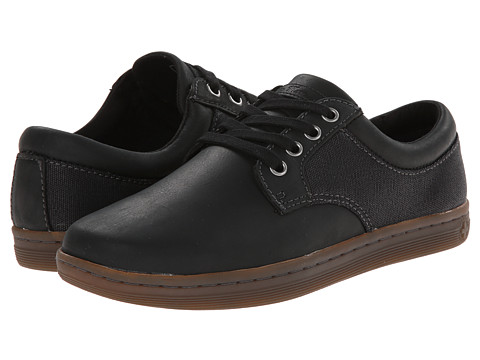 Dr. Martens - Mason 4-Eye Padded Collar (Black/Black/Wyoming/Wax Canvas) Men's Lace up casual Shoes