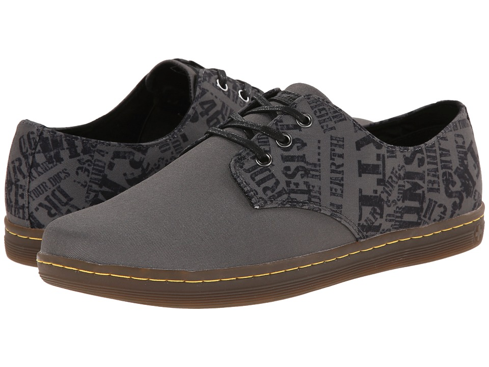 Dr. Martens - Kira Elastic 3-Eye (Black/Charcoal Background/Black Test) Men's Lace up casual Shoes
