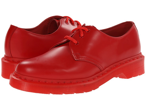 Dr. Martens - 1461 Mono 3-Eye (Poppy Red Smooth) Women's Lace up casual Shoes