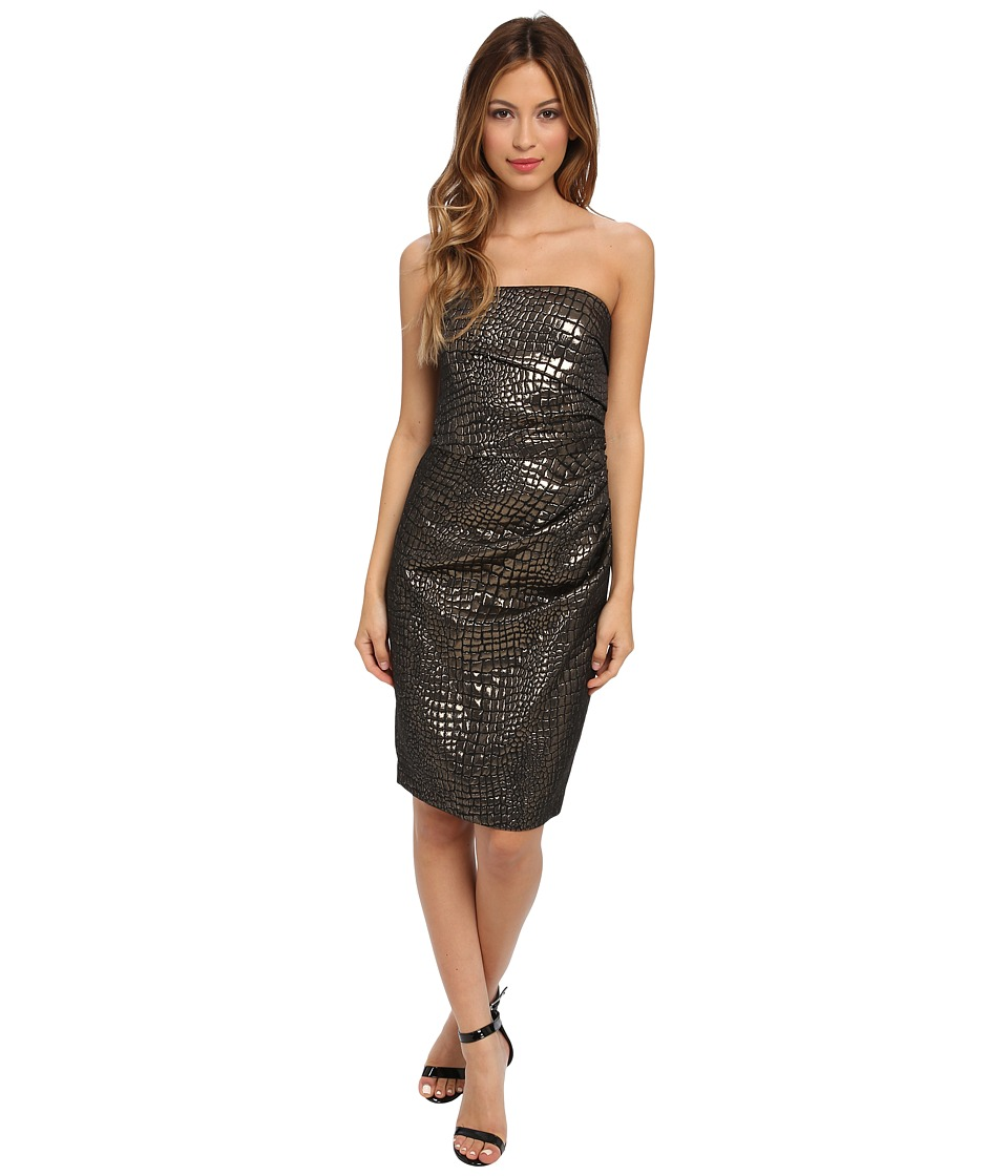 Badgley Mischka - Strapless Jacquard (Gold/Black) Women's Dress