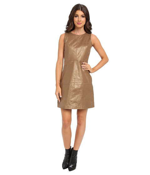 Badgley Mischka - Metallic Leather Shift (Gold) Women's Dress