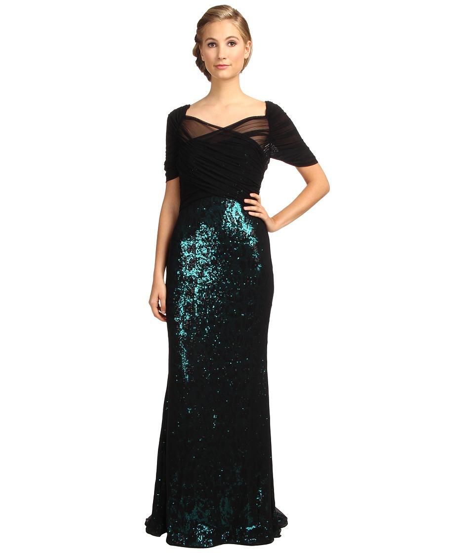 Badgley Mischka - Stretch Mesh Over Sequin Gown (Emerald/Black) Women's Dress