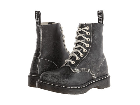 Dr. Martens - Pascal 8-Eye Boot (Black/White/Cristal Suede) Lace-up Boots
