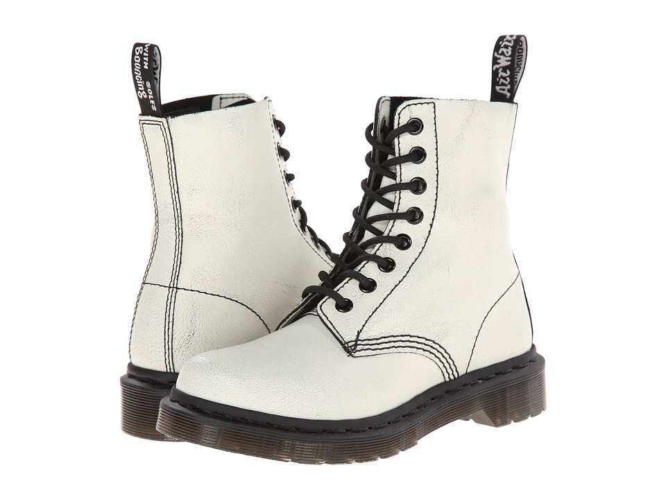 Dr. Martens - Pascal 8-Eye Boot (White/Black/Cristal Suede) Lace-up Boots