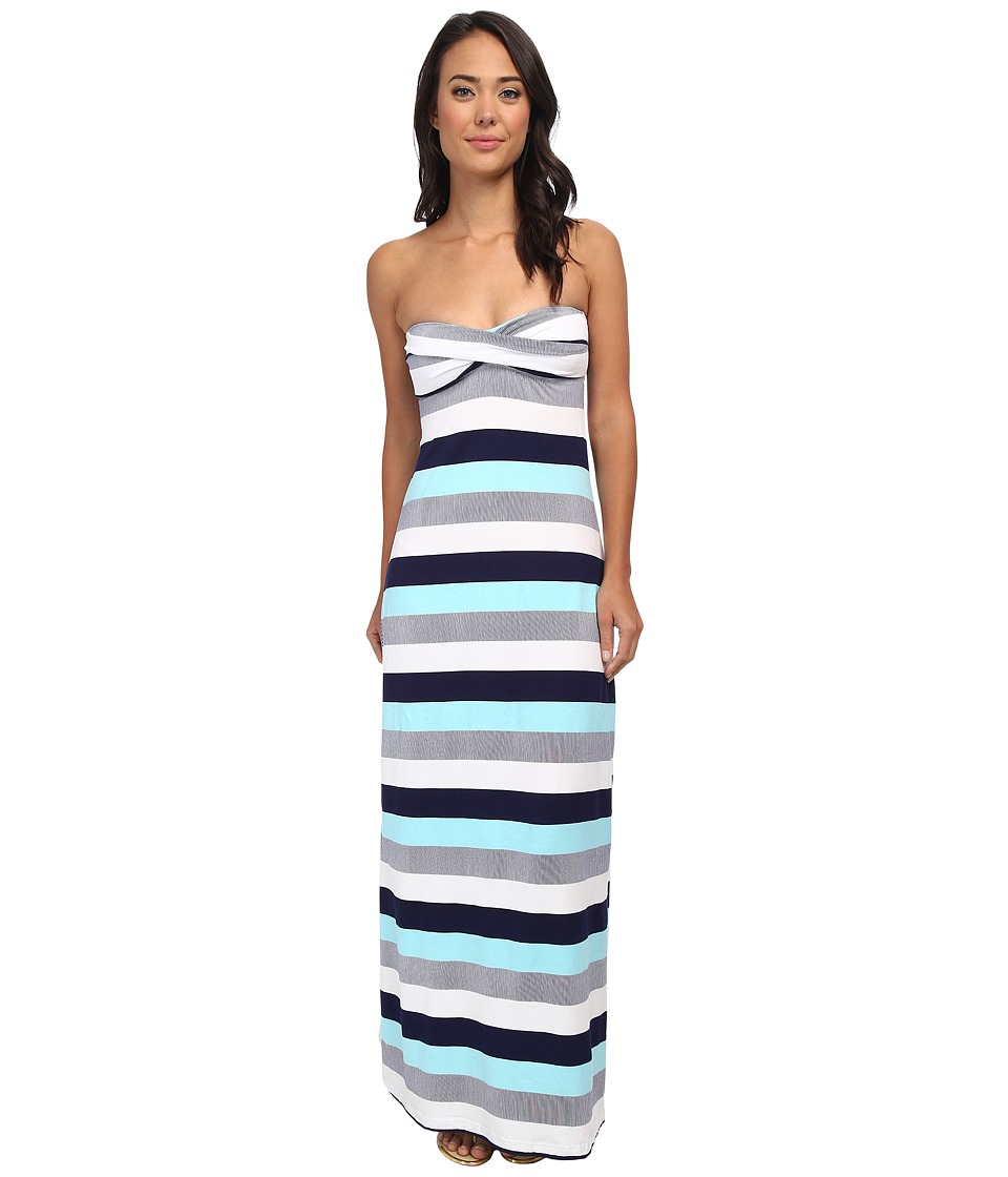 Tommy Bahama - Bold Stripe Mini Anchor Long Bandeau Cup Dress w/ Tie Back and Slits Cover-Up (Swimming Pool/Mare/White) Women's Swimwear