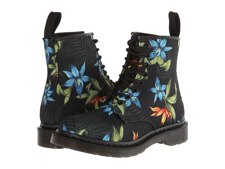 Dr. Martens - Castel 8-Eye Boot W (Black Hawaiian Floral T Canvas) Women's Lace-up Boots