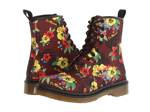 Dr. Martens - Castel 8-Eye Boot W (Cherry Red Hawaiian Punk T Canvas) Women's Lace-up Boots