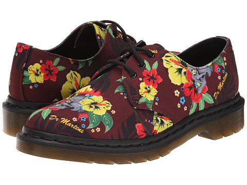 Dr. Martens - Lester 3-Eye Shoe (Cherry Red Hawaiian Punk T Canvas) Women's Lace up casual Shoes