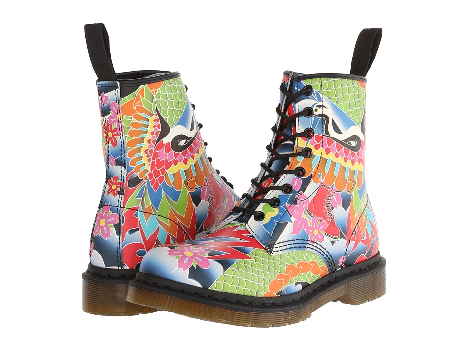 Dr. Martens - 1460 W 8-Eye Boot (Multi Psych Tattoo Softy T) Women's Lace-up Boots
