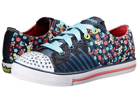 SKECHERS KIDS - 10466L Lights (Little Kid/Big Kid) (Navy/Coral) Girls Shoes