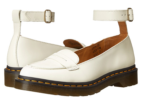 Dr. Martens - Leonie Pointed Ankle Strap Penny Loafer (Off White Polished Smooth) Women's Slip on Shoes