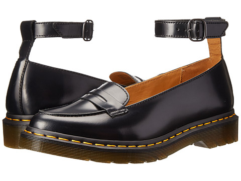 Dr. Martens - Leonie Pointed Ankle Strap Penny Loafer (Black Polished Smooth) Women's Slip on Shoes
