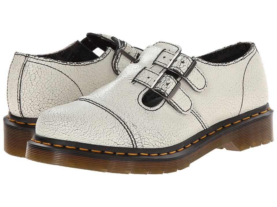 Dr. Martens - Susy Double Strap T-Bar (White/Black/Cristal Suede) Women's Monkstrap Shoes