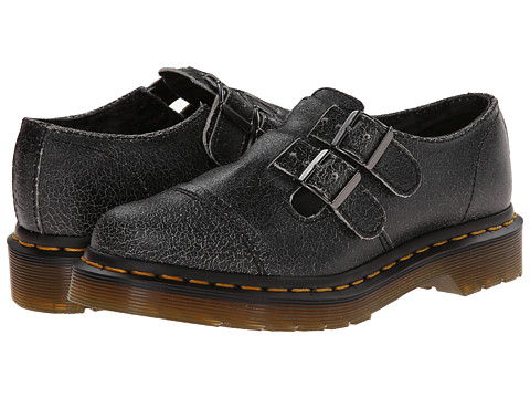 Dr. Martens - Susy Double Strap T-Bar (Black/White/Cristal Suede) Women's Monkstrap Shoes