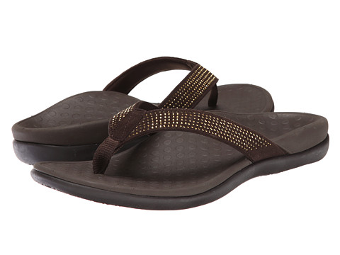 VIONIC with Orthaheel Technology - Tide Rhinestone (Dark Brown) Women's Sandals