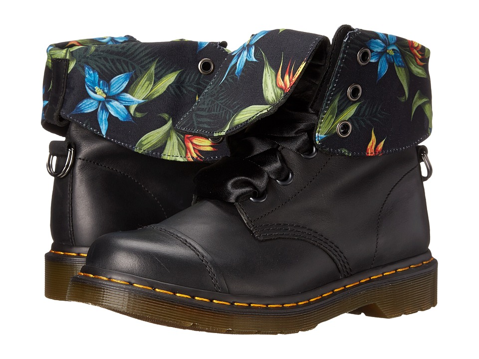 Dr. Martens - Aimilita 9-Eye Toe Cap Boot (Black Darkened Mirage 2) Women's Lace-up Boots