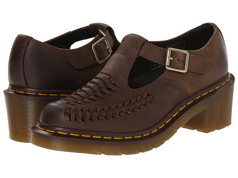 Dr. Martens - Mindy Woven Vamp T-Bar (Dark Brown Burnished Wyoming) Women's Slip on Shoes