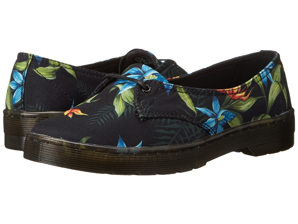 Dr. Martens - Morada 1-Eye (Black Hawaiian Floral T Canvas) Women's Lace up casual Shoes