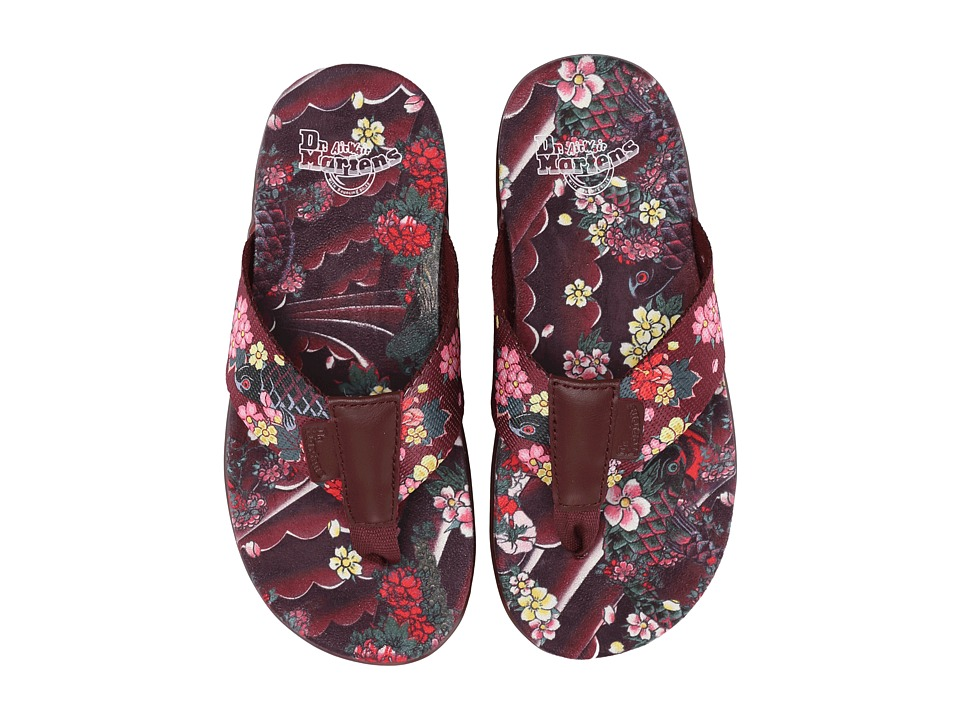 Dr. Martens - Mana Toe Post (Cherry Red/Cherry Red/Ecotex/Tattoo Floral Webbing) Men
